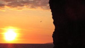 cliff sun set