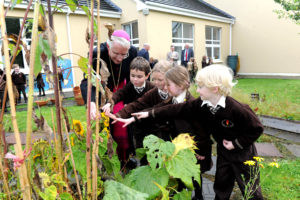 Bishop Ray Browne launching Grow in Love programme with Senior Infants class members at Lissivigeen National School, Killarney. Photo by Michelle Cooper Galvin