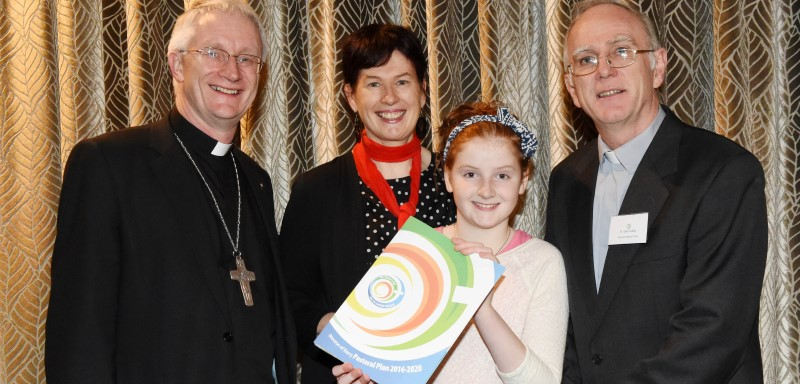 Bishop Ray Browne with Meabh Kieran McDonagh, Dr. Patricia Kieran of Mary Immaculate College, Limerick and Fr Ger Godley at the launch of the Be Christ's Joy Diocese of Kerry Pastoral Plan 2016-2020 at The Malton, Killarney on Monday.Photo by Michelle Cooper Galvin