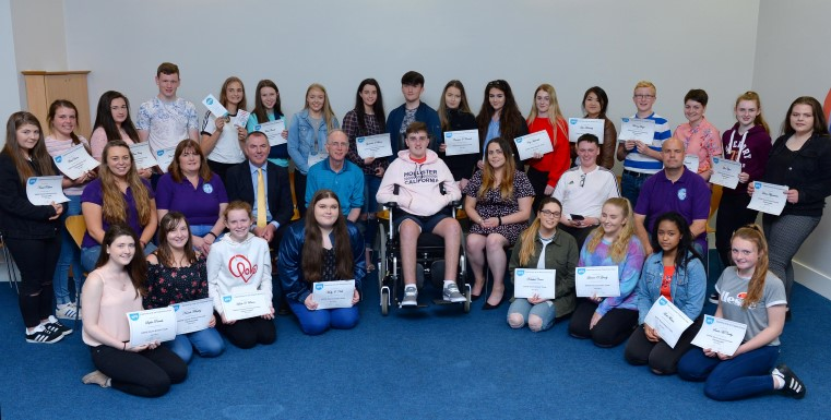 The annual KDYS awards ceremony was held recently in Killarney & students heard incredibly inspirational words from Ian O Connell, pictured centre. Photograph by Sally MacMonagle.