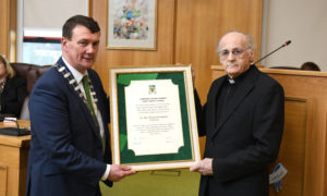 Fr Pat Ahern, a founder member of Siamsa Tire: The National Folk Theatre, in 1973, was afforded a civic reception by Mayor of Kerry, Cllr John Sheahan, HE has made a massive contribution to arts in the county over the years and now Fr Pat Ahern will be honour today by Kerry County Council with a Civic Reception. Fr Ahern was honoured for his outstanding contribution to the artistic, cultural and literary tradition of the county. A native of Moyvane, Fr. Pat Ahern is a founder member of Siamsa Tire, the National Folk Theatre established in 1973.Fr. Pat was educated at St Michael's College, Listowel, St. Brendan's College, Killarney, and St. Patrick's College, Maynooth and studied music at UCC under the late Professor Fleischmann, graduating in 1962. He helped develop Siamsa Tíre into the success it is today and was artistic director there until 1997. He also took part in broadcasting projects with Radio Kerry and RTE and was involved in a number of productions at the Abbey Theatre. Photo By Domnick Walsh © Eye Focus LTD - www.dwalshphoto.ie Tralee Co Kerry Ireland Mobile Phone : 00353 87 26 72 033 Land Line : 00 353 66 71 22 981 E/mail : info@dwalshphoto.ie WEB Site : www.dwalshphoto.ie